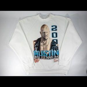 WWF Stone Cold Steve Austin White Sweatshirt WWE